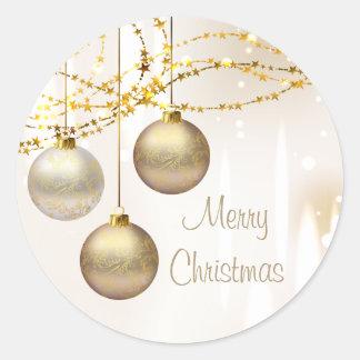Bolas adornadas del navidad de la plata y del oro pegatinas redondas