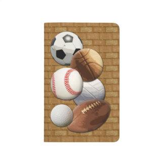Bolas All-star de los deportes con la pared de Cuaderno Grapado