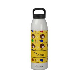 Bolas amarillas conocidas de encargo de los gorras botella de agua