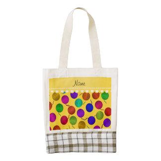 Bolas amarillas conocidas personalizadas del bolsa tote zazzle HEART