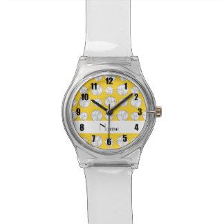 Bolas amarillas conocidas personalizadas del volei reloj