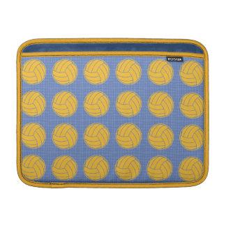 Bolas amarillas en fondo azul funda macbook air