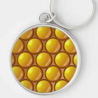 Bolas amarillas llavero redondo plateado