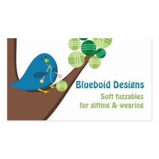Bolas azules de las agujas que hacen punto del tarjetas de visita
