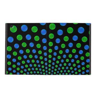 Bolas azules y verdes en un fondo negro iPad carcasa