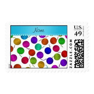 Bolas blancas conocidas personalizadas del hilado timbre postal