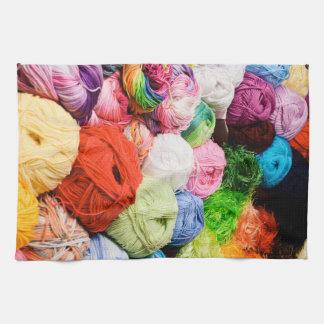 Bolas coloridas del hilado toallas de mano