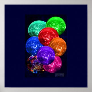 Bolas cristalinas de neón del espacio por JudyMari Póster