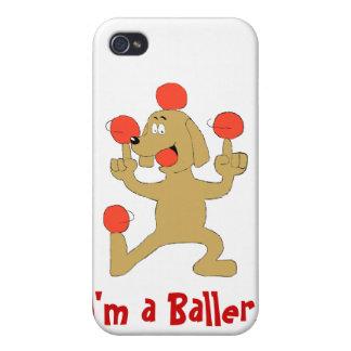 Bolas de equilibrio del perro del dibujo animado iPhone 4 carcasa
