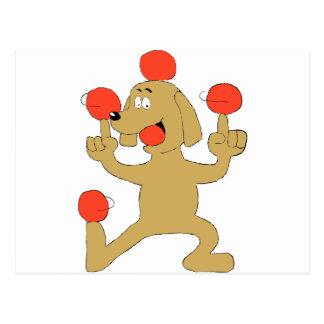 Bolas de equilibrio del perro del dibujo animado postal