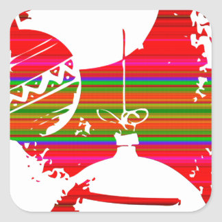 Bolas de la decoración del navidad pegatina cuadrada