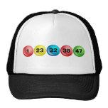 Bolas de la lotería, 1, 23, 32, 38, 47 gorras