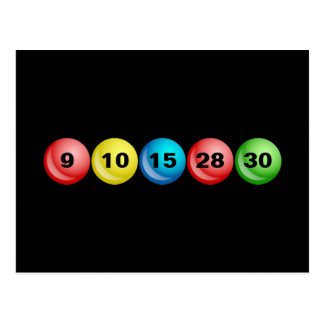 Bolas de la lotería, 9, 10, 15, 28, 30 tarjeta postal
