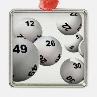 Bolas de la lotería adorno navideño cuadrado de metal