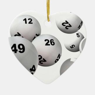 Bolas de la lotería adorno navideño de cerámica en forma de corazón