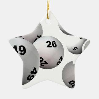 Bolas de la lotería adorno navideño de cerámica en forma de estrella