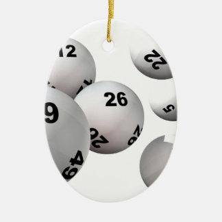Bolas de la lotería adorno navideño ovalado de cerámica