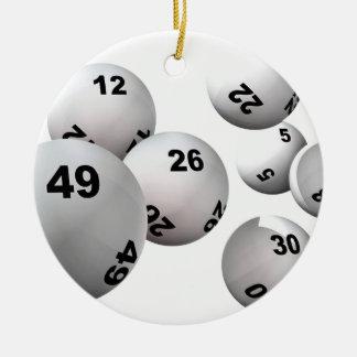 Bolas de la lotería adorno navideño redondo de cerámica