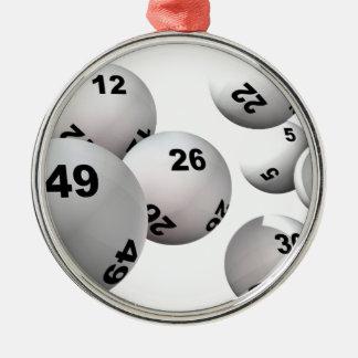 Bolas de la lotería adorno navideño redondo de metal