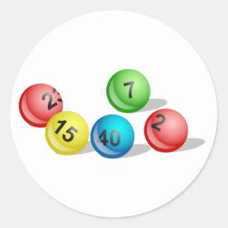Bolas de la lotería pegatina redonda