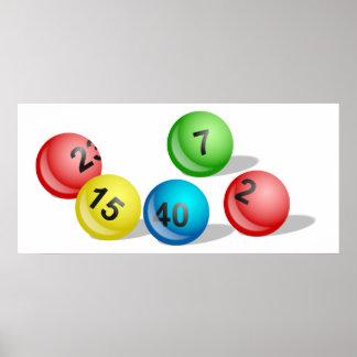Bolas de la lotería póster
