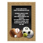 Bolas de los deportes de All Star con la pared de  Invitacion Personal