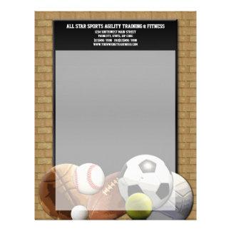 Bolas de los deportes de All Star con la pared de Membrete A Diseño