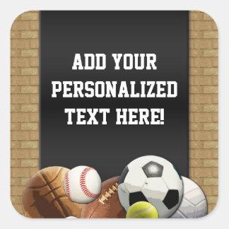 Bolas de los deportes de All Star con la pared de Pegatinas Cuadradas Personalizadas