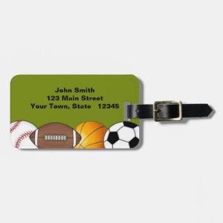 Bolas de los deportes etiqueta de equipaje
