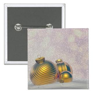 Bolas de oro del navidad en la nieve pin cuadrado