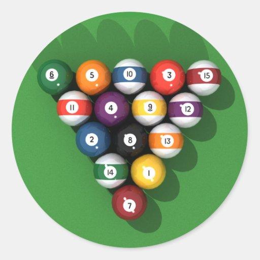 Bolas de piscina en el verde sentido: pegatina redonda