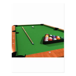 Bolas de piscina en la tabla de billares del fielt postal