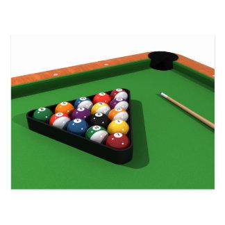 Bolas de piscina en la tabla de billares del postales