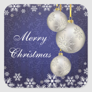Bolas de plata del navidad del platino azules pegatina cuadrada