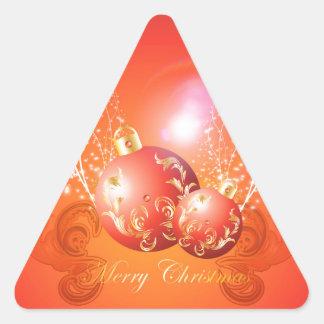 Bolas decorativas del navidad en oro y rojo pegatina triangulo personalizadas