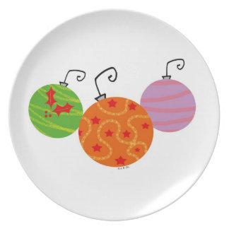 Bolas del árbol de navidad plato de comida