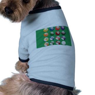 Bolas del billar camisa de perro