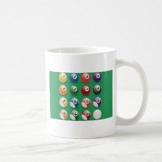 Bolas del billar tazas de café