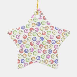 Bolas del bingo adorno navideño de cerámica en forma de estrella