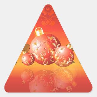 Bolas del navidad con damascos decorativos pegatina trianguloada