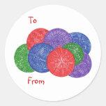 Bolas del navidad - de los pegatinas coloridos del etiquetas redondas