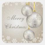Bolas del navidad del oro del platino y pegatinas colcomanias cuadradas personalizadas
