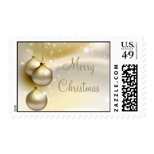 Bolas del navidad del oro en el oro estampilla