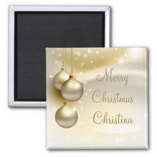 Bolas del navidad del oro en el oro iman de frigorífico