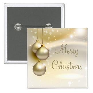 Bolas del navidad del oro en el oro pin cuadrado
