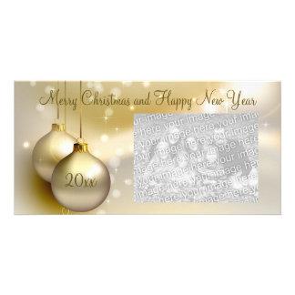 Bolas del navidad del oro en el oro tarjetas fotograficas personalizadas