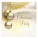 Bolas del navidad del oro en la fiesta de Navidad  Invitaciones Personalizada