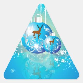 Bolas del navidad en azul con el reno colcomanias de triangulo
