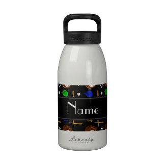 Bolas negras conocidas personalizadas de los botella de agua