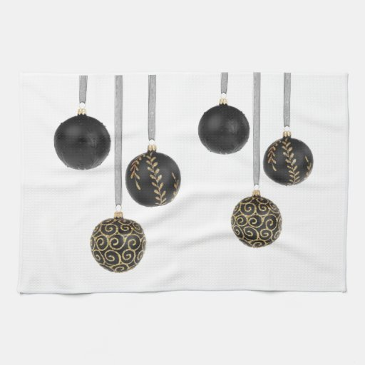 Bolas negras decorativas del navidad toalla de mano